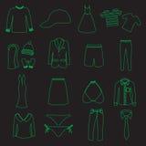 Los iconos simples del vector del esquema de la ropa fijaron eps10 Foto de archivo libre de regalías