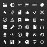 Los iconos simples determinados del vector para los medios usos llaman por teléfono, sitio web Foto de archivo