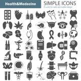 Los iconos simples grandes de la medicina y de la anatomía fijaron para el web y el diseño móvil stock de ilustración