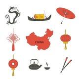 Los iconos tradicionales asiáticos de los símbolos de la cultura del viaje de China fijados aislaron el ejemplo del vector foto de archivo libre de regalías