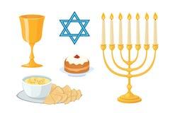Los iconos tradicionales de los símbolos de la iglesia del judaísmo fijados aislaron el diseño de Jánuca y el menorah religiosos  ilustración del vector