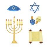 Los iconos tradicionales de los símbolos de la iglesia del judaísmo fijados aislaron el ejemplo libre illustration