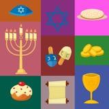 Los iconos tradicionales de los símbolos de la iglesia del judaísmo fijados aislaron el ejemplo stock de ilustración