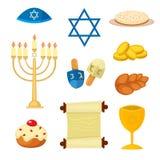 Los iconos tradicionales de los símbolos de la iglesia del judaísmo fijaron el ejemplo del vector stock de ilustración