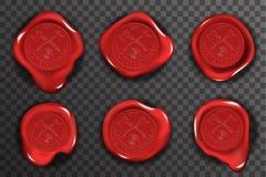 Los iconos transparentes de la maqueta del fondo de la muestra roja del certificado del sello del sello de la cera fijaron el eje libre illustration