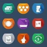 Los iconos UI plano de los servicios de hotel fijaron 2 Imagen de archivo
