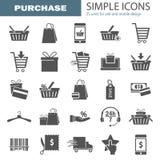 Los iconos universales simples que hacían compras fijaron para el diseño móvil del ADN del web Imagen de archivo