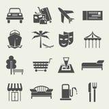 Los iconos vacation y viajan en un estilo plano Fotos de archivo libres de regalías