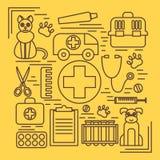 Los iconos veterinarios de la medicina animal de la atención sanitaria del animal doméstico fijaron aislado Imagen de archivo