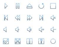 Los iconos video audios de los media fijaron no.2 - azul Imagen de archivo