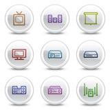 Los iconos video audios del color del Web, el círculo blanco abotonan Imágenes de archivo libres de regalías