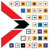 Los iconos y los símbolos abstractos de la flecha en cuadrados vector el ejemplo Imagen de archivo libre de regalías