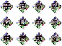 Los ideogramas del zodiaco chino firman en el fondo abstracto aislado Foto de archivo