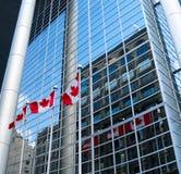 Los indicadores de Canadá reflejan contra el edificio. Imagen de archivo libre de regalías
