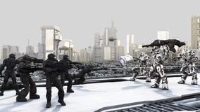 Los infantes de marina y el combate Droids del espacio luchan en un Futuri ilustración del vector