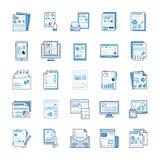 Los informes de negocios, an?lisis est?tico, informe financiero, los iconos planos embalan stock de ilustración