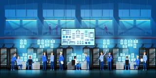 Los ingenieros de las TIC en centro de datos grande trabajan en proyecto del gobierno de la nueva tecnología con los cuartos y lo libre illustration