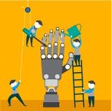 Los ingenieros son de fabricación y de comprobación del brazo robótico Imágenes de archivo libres de regalías