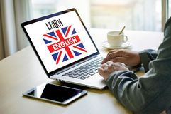 Los INGLESES (enseñanza de idiomas de británicos Inglaterra) aprenden el Lan inglés Fotografía de archivo
