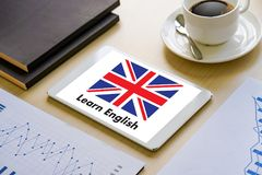 Los INGLESES (enseñanza de idiomas de británicos Inglaterra) aprenden el Lan inglés Fotos de archivo