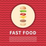 Los ingredientes de la hamburguesa en el cartel rojo Imagen coloreada historieta linda de los alimentos de preparación rápida Ele Foto de archivo libre de regalías
