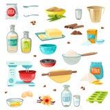 Los ingredientes de la hornada colorearon iconos stock de ilustración