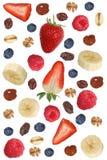 Los ingredientes del muesli de la fruta para el desayuno con las frutas les gusta el plátano a Foto de archivo libre de regalías