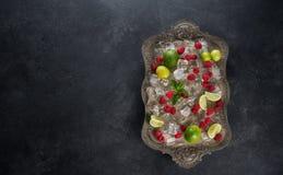 Los ingredientes para hacer los cubos de hielo de la limonada, frambuesa, cal, limón y menta, sirvieron en la bandeja vieja sobre Fotografía de archivo libre de regalías