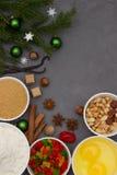 Los ingredientes para stollen Hornada de la Navidad Foto de archivo