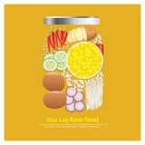 Los ingredientes planos del diseño de la endecha para la comida en esquema del cuenco vector el ejemplo Imagenes de archivo