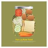 Los ingredientes planos del diseño de la endecha para la comida en esquema del cuenco vector el ejemplo Foto de archivo libre de regalías
