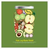 Los ingredientes planos del diseño de la endecha para la comida en esquema del cuenco vector el ejemplo Imágenes de archivo libres de regalías
