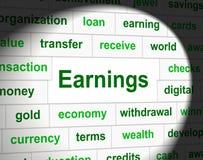 Los ingresos de las ganancias indican rentas del salario y las emplearon Fotografía de archivo libre de regalías