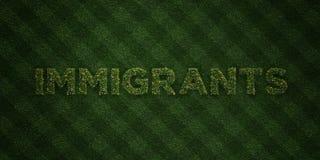 Los INMIGRANTES - letras frescas de la hierba con las flores y los dientes de león - 3D rindieron imagen común libre de los derec ilustración del vector