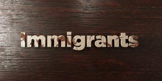 Los inmigrantes - título de madera sucio en arce - 3D rindieron imagen común libre de los derechos ilustración del vector