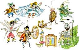 Los insectos divertidos fijaron ilustración del vector