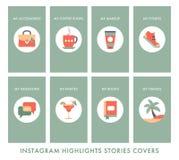 los Instagram-historia-puntos culminantes copian stock de ilustración