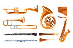 Los instrumentoes de viento musicales fijaron, saxofón, clarinete, trompeta, trombón, tuba, ejemplos del vector de la flauta de l ilustración del vector