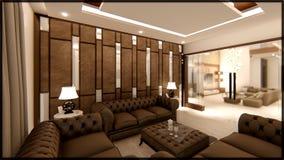Los interiores de la sala de estar de la casa con los sofás de la buena calidad, otros accesorios y la casa completa 3d rinden imagen de archivo