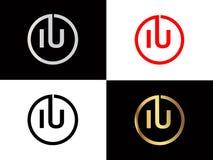 Los IU ajustan diseño del logotipo de la letra de la forma en el color oro de plata ilustración del vector