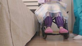 Los jóvenes cuidan cuidar de una más vieja mujer discapacitada en silla de ruedas almacen de video