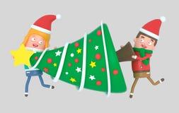 Los jóvenes de la Navidad juntan llevar un árbol para la Navidad ilustración 3D ilustración del vector