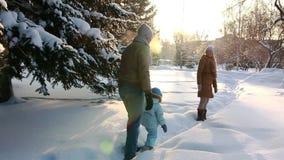 Los jóvenes juntan caminar con un niño en el bosque metrajes