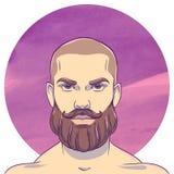 Los jóvenes se quedan calvo al hombre con un bigote y una barba Foto de archivo
