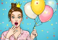 Los jóvenes sorprendieron a la mujer con globos coloreados y una corona de la princesa en su cabeza Mujer sorprendente de la moda libre illustration