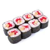 Los japoneses ruedan con la tortilla japonesa y el isola rojo del masago del caviar Fotografía de archivo libre de regalías