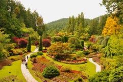 Los jardines Sunken en los jardines de Butchart. Foto de archivo