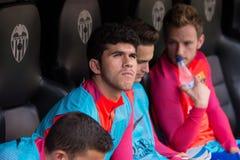 Los juegos de Carles Alena en el La Liga hacen juego entre el Valencia CF y el FC Barcelona imágenes de archivo libres de regalías