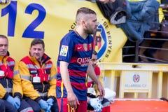 Los juegos de Jordi Alba en el La Liga hacen juego entre el Villarreal CF y el FC Barcelona en el estadio del madrigal del EL Fotografía de archivo