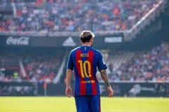 Los juegos de Leo Messi en el La Liga hacen juego entre el Valencia CF y el FC Barcelona en Mestalla imágenes de archivo libres de regalías